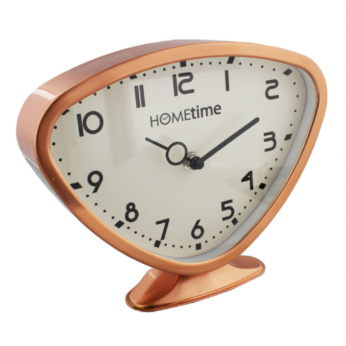 Mid Century Style Copper Metal Retro Mantel Clock - Triangle Copper Retro Style Clock